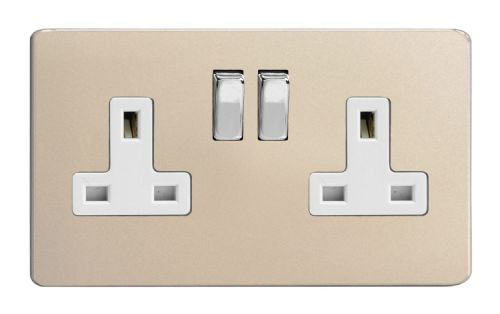 Varilight XDN5WS Screwless Satin Chrome 2 Gang Double 13A Switched Plug Socket